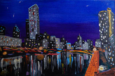 Abstract Painting - Melbourne Skyline At Night by Eliza Donovan