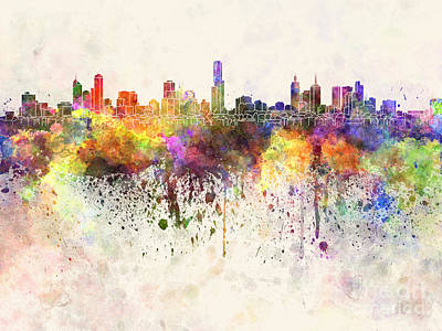 Oceania Painting - Melbourne Skyline In Watercolor Background by Pablo Romero