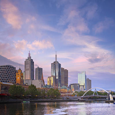 Melbourne Skyline Twilight Square Art Print by Colin and Linda McKie