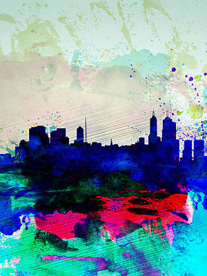 Australia Painting - Melbourne Watercolor Skyline 2 by Naxart Studio