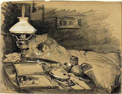 Studio Drawing - Melchior Lechter, German 1865-1937, The Artists Studio by Litz Collection