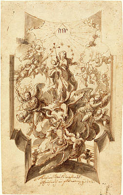 Immaculate Drawing - Melchior Steidl, Austrian 1657-1727, The Immaculate by Litz Collection