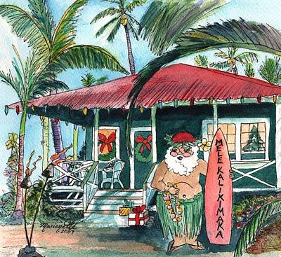 Mele Kalikimaka Hawaiian Santa Art Print