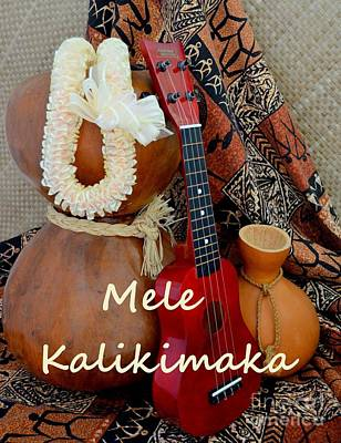 Photograph - Mele Kalikimaka With White Ribbon Lei by Mary Deal