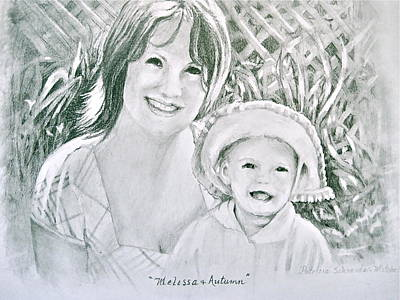 Art Print featuring the painting Melissa And Autumn by Patricia Schneider Mitchell
