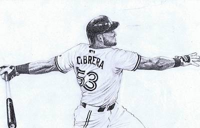 Bluejay Drawing - Melky Cabrera by Paul Smutylo