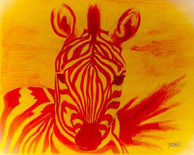 Mellow Yellow Zebra Art Print by Scott Dokey