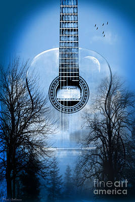 Acoustic Guitar Painting - Melody Mystic Night  by Mark Ashkenazi