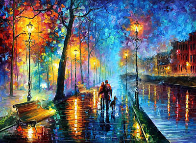 Raining Painting - Melody Of The Night - Palette Knife Landscape Oil Painting On Canvas By Leonid Afremov by Leonid Afremov