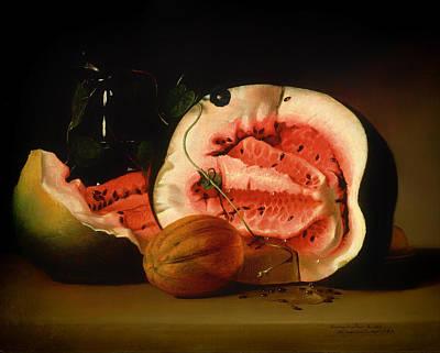 Melon And Morning Glories Art Print