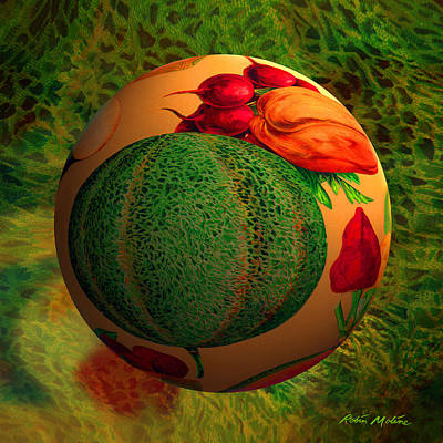 Round Digital Art - Melon Ball  by Robin Moline