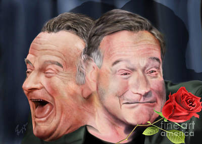 Painting - Melpomene And Thalia The Duality Of Robin Williams by Reggie Duffie