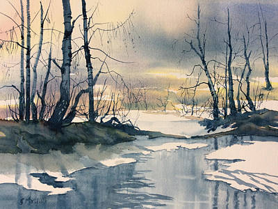 Painting - Melt Water On Skipwith Common by Glenn Marshall