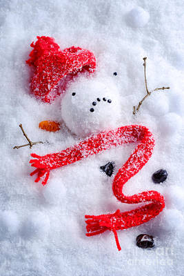 Melted Snowman Art Print by Amanda Elwell