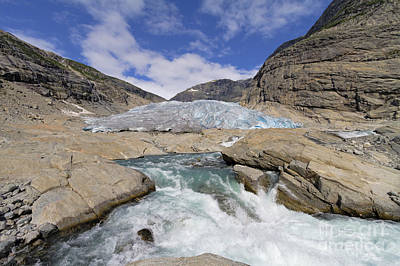 Norwegian Waterfall Photograph - Melting Glacier With Rapids In Dramatic Setting Of Mountains On  by Bart De Rijk