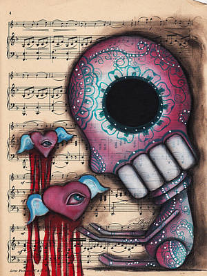 Pop Surrealism Painting - Melting Hearts  by Abril Andrade Griffith
