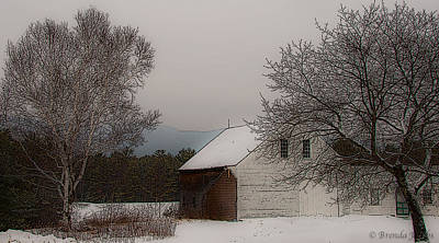 Art Print featuring the photograph Melvin Village Barn In Winter by Brenda Jacobs