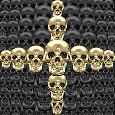 Digital Art - Memento Mori - Cross Of Gold Human Skulls On Black by Serge Averbukh