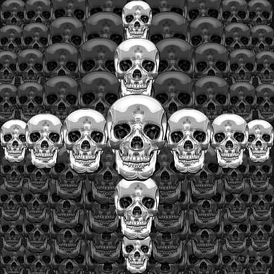 Digital Art - Memento Mori - Cross Of Silver Human Skull On Black  by Serge Averbukh