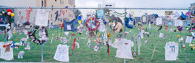 Mementos On Chain Link Fence, Memorial Art Print by Panoramic Images