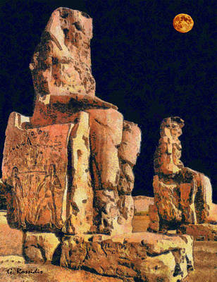 Temple Painting - Memnon Colossi by George Rossidis
