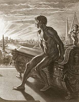 Achilles Drawing - Memnons Statue, 1731 by Bernard Picart