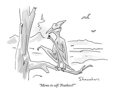 General Drawing - Memo To Self: 'feathers?' by Danny Shanahan