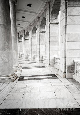 Marble Tomb-stones Photograph - Memorial Amphitheater Corridor - Arlington National Cemetery  by Gary Whitton