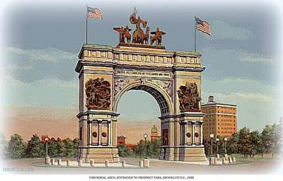 Painting - Memorial Arch- Entrance To Prospect Park- Brooklyn N Y-1935 by Dwight Goss