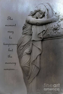 With Photograph - Memorial Art Statue - Haunting Cemetery Statue Inspirational Art by Kathy Fornal