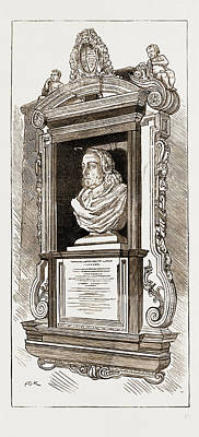 Memorial Bust And Tablet In Hempstead Church Of Dr Art Print