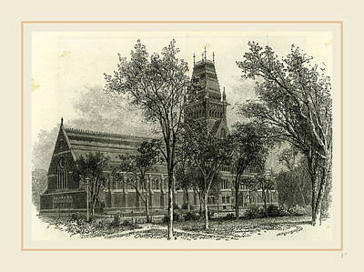 Harvard Drawing - Memorial Hall, Harvard College, 19th Century by Liszt collection