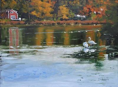Swans... Painting - Memorial Pond II by Laura Lee Zanghetti