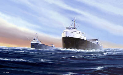 Great Lakes Ship Painting - Memories by Captain Bud Robinson