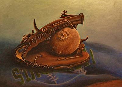 Softball Painting - Memories by Joy Bradley