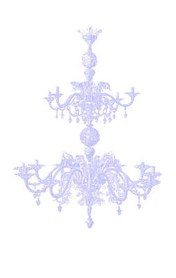 Memories Of Chandeliers Past - Blue Art Print by KM Russell