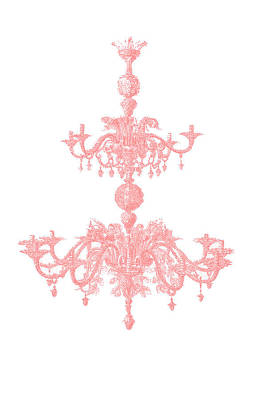 Memories Of Chandeliers Past - Coral Art Print by KM Russell