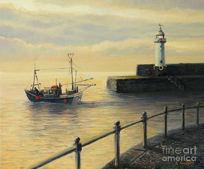 Water Vessels Painting - Memories Of The Old Lighthouse by Kiril Stanchev