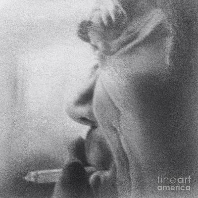 Memory Of Dad- Black And White Art Print by Cireena Katto