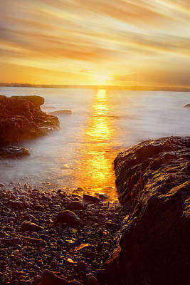 Pastel Sunset Photograph - Memory Of Sunset - Rhode Island Sunset Beavertail State Park At Dusk  by Lourry Legarde