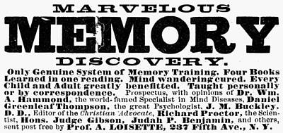 Psychology Painting - Memory Training Ad, 1889 by Granger