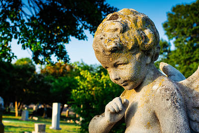 Elmwood Cemetery Photograph - Memphis Elmwood Cemetery - Boy Angel by Jon Woodhams