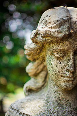 Cemetary Photograph - Memphis Elmwood Cemetery - Girl With Cross Close-up by Jon Woodhams