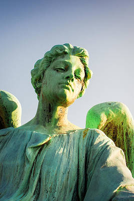 Cemetary Photograph - Memphis Elmwood Cemetery - Patinated Angel by Jon Woodhams