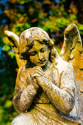 Memphis Elmwood Cemetery - Praying Angel Art Print by Jon Woodhams