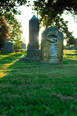 Memphis Elmwood Cemetery - Backlit Grave Stones Art Print by Jon Woodhams
