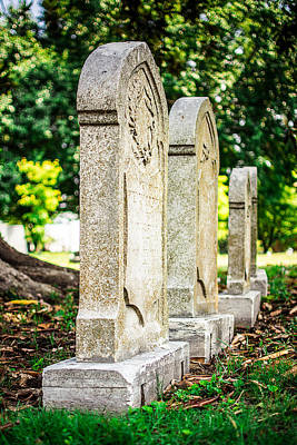Elmwood Cemetery Photograph - Memphis Elmwood Cemetery Monument - Four In A Row by Jon Woodhams