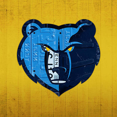 Memphis Grizzlies Basketball Team Retro Logo Vintage Recycled Tennessee License Plate Art Art Print by Design Turnpike
