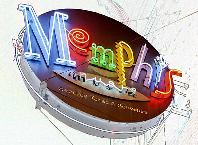 Digital Art - Memphis Sign by Liz Leyden