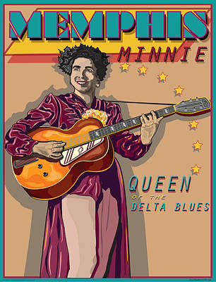 Memphis Minnie Queen Of The Delta Blues Art Print by Larry Butterworth